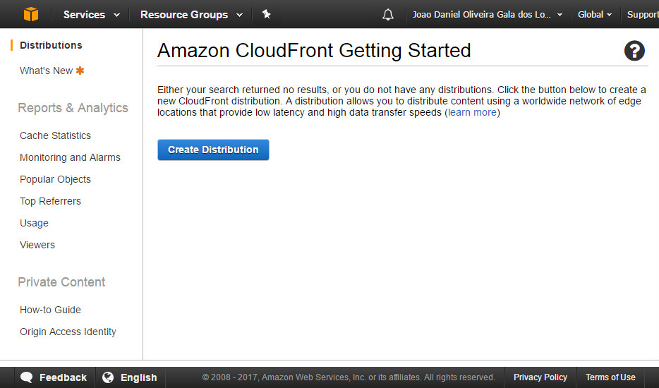 AWS CloudFront screenshot 1